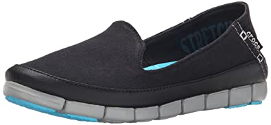 52911decc4 crocs Women's Stretch Sole Skimmer Black/Light Grey Boat Shoes - W7(200342-