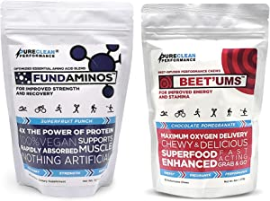 FUNDAMINOS Amino Acid Powder and BCCA Blend + BEET'UMS Superfood Performance Chews - Pureclean Performance Bundle