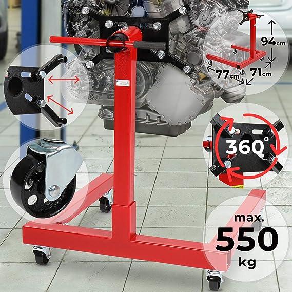 Motorständer Bis 550 Kg Belastbar 360 Drehbare Aufnahmeplatte Robuste Bauweise Mit Lenkrollen Rot Auto Motorhalter Motorheber Motorwagen Getriebehalter Auto