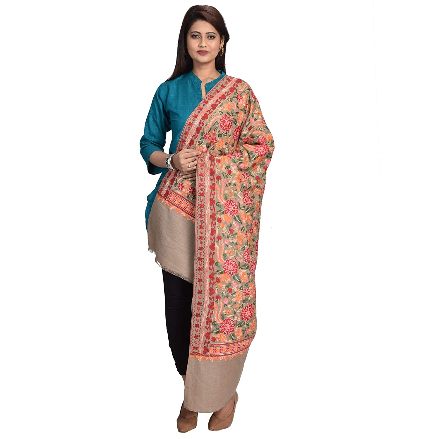 SWI Stylish Women's Embroidered Shawl Wrap in Wool Rich Fabric, Aari Pattern in Staple Thread, Size 40x80 Inches