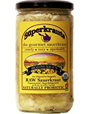 Healing Sauerkraut for digestive support: organic, raw fermented, unpasteurized, probiotic, kosher, vegan and gluten free. 24 fl. oz., 16 flavors available. No shipping charges with minimum.