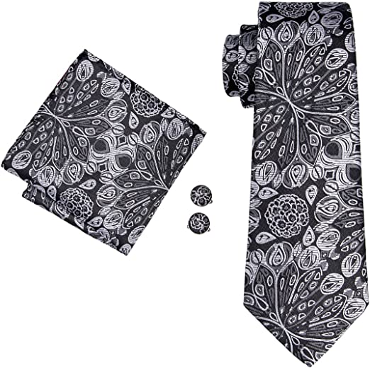 Mens Jacquard Woven Silk News Arriving Paisley Tie Hanky Cufflinks Sets