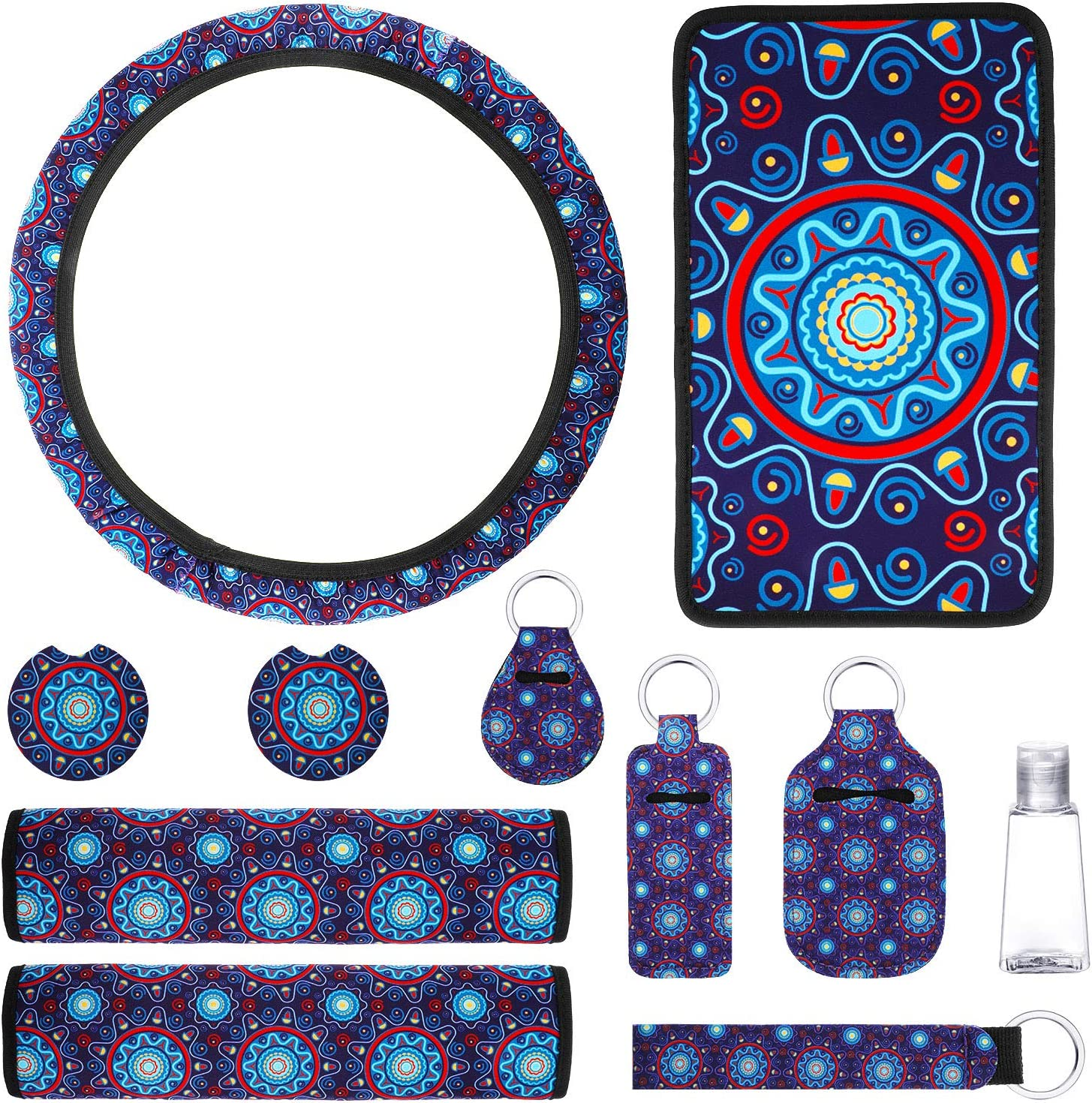 11 Pieces Universal Mandala Style Car Accessories Include Steering Wheel Cover Center Console Armrest Pad Seat Belt Shoulder Pad Cup Holder Coaster Key Rings Clear Bottle and Lipstick Keychain Holder