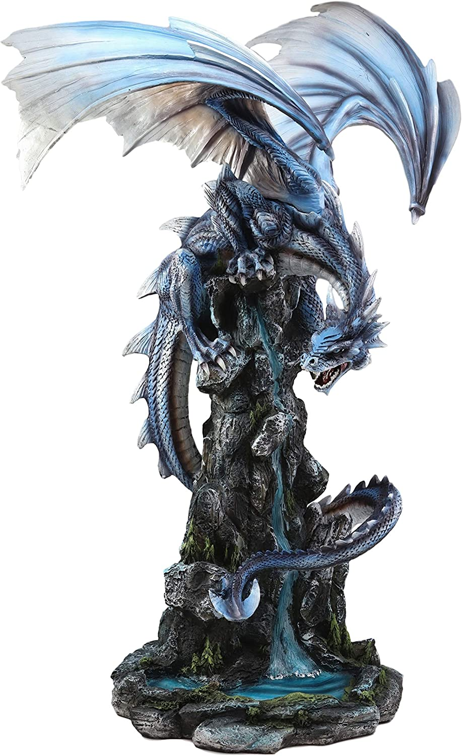 Ebros Gift Large 23 Tall Blue Zirconia Rogue Storm Dragon Hovering Over Cliff Rock Waterfall Statue As Dungeons And Dragons Decor Sculpture Fantasy Medieval Renaissance Figurine Home Kitchen
