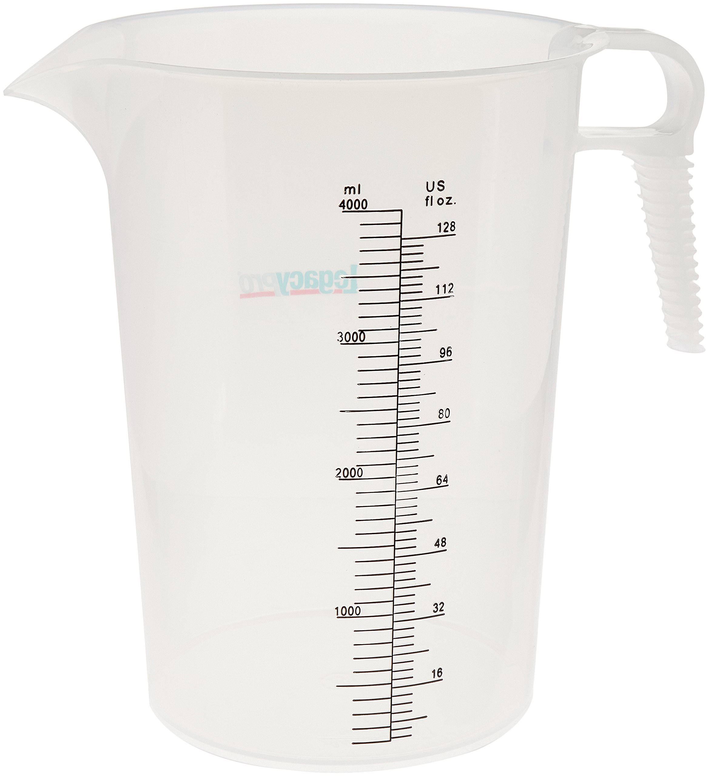 LegacyPro Translucent Graduated Pitcher for Darkroon Chemicals, Automotive and Pool Supplies, 128oz