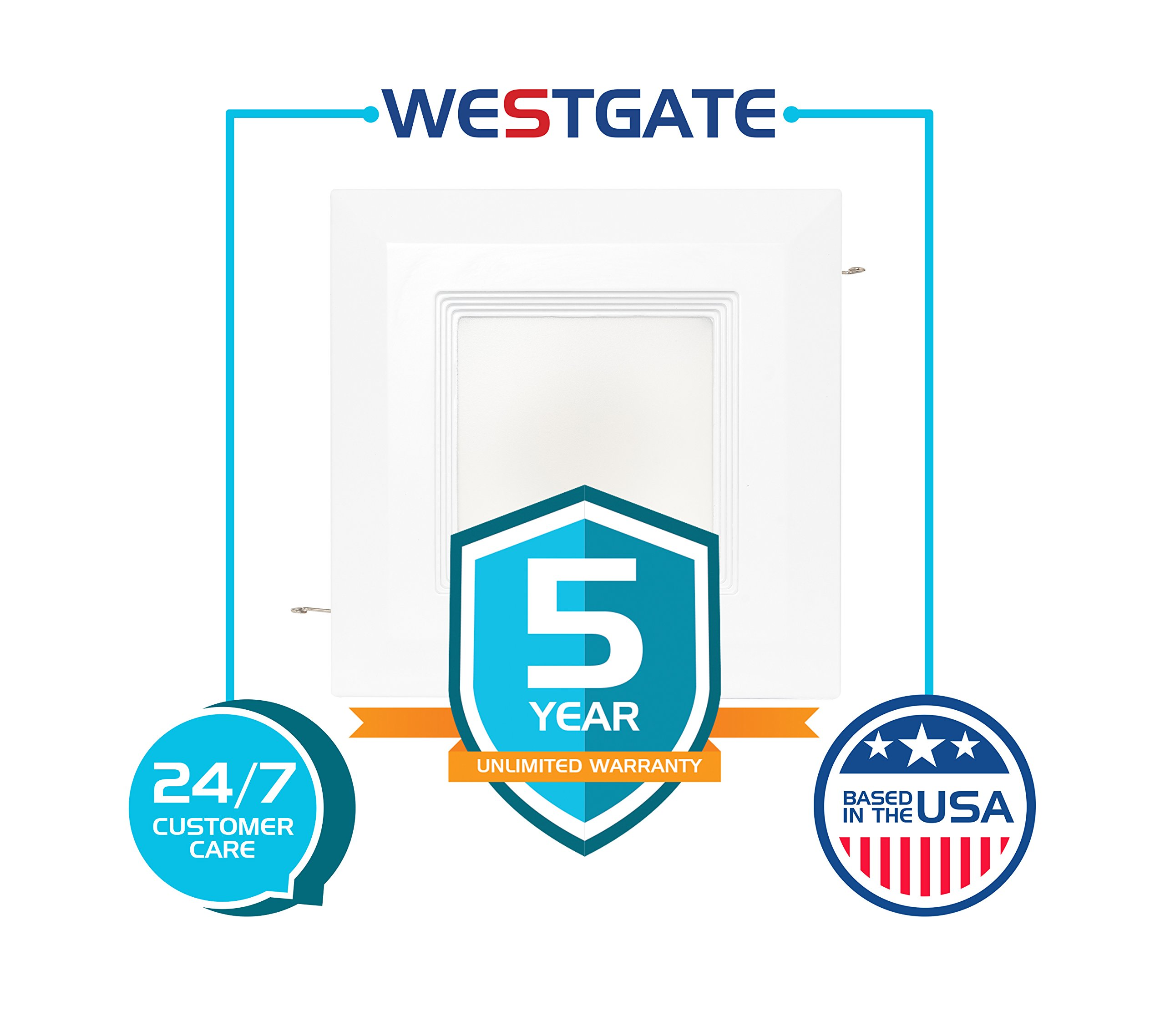 Westgate 15 Watt 6'' Inch Recessed Lighting Kit with Baffle Trim - Square Shaped LED Retrofit Downlight - Premium Dimmable Light Fixture - Best Ceiling Lights - ETL Listed (4100K Cool White 8 Pack) by Westgate