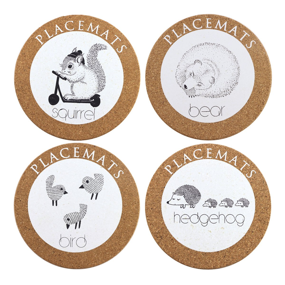 Finico 4 Pieces Large Cork Coasters For Drinks Absorbent and Reusable, Protect Furniture From Water, 6.7'' Diameter, 2/5 Thick