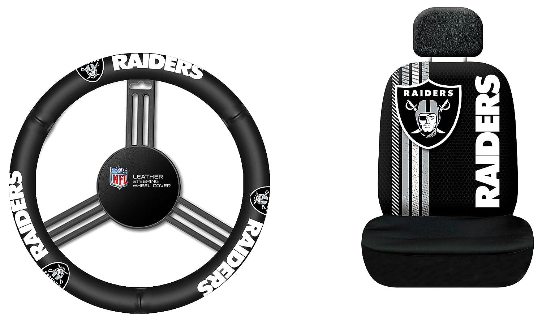 Fremont Die NFL オークランドレイダーズ ラリー シートカバー レザーハンドルカバー フリーサイズ ブラック   B07BJ27K3S