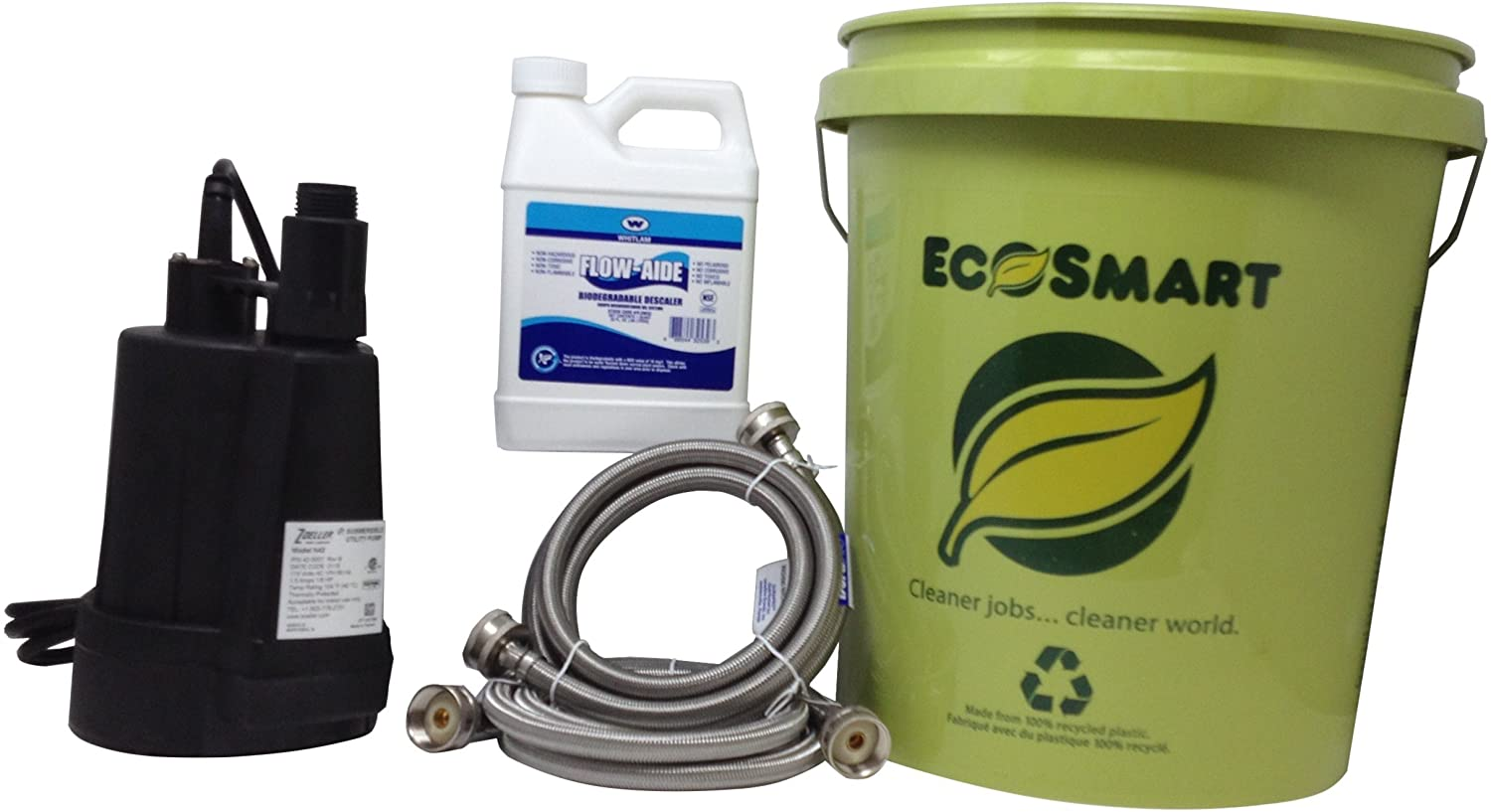 My PlumbingStuff - Tankless Water Heater Flushing Kit - 32-ounce J.C. Whitlam FLOW32 Flow-Aide System Descaler - Zoeller 42-0007 Floor Sucker Pump - 5-Gallon Bucket - User Instructions - Safe to Use