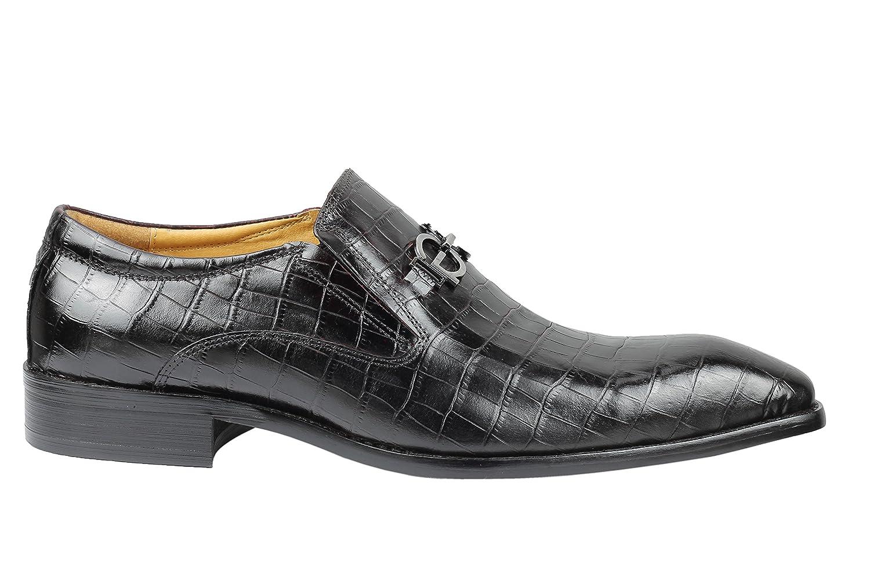 Mens Dark Brown Real Leather Crocodile Print Buckle Loafer Vintage Slip on Shoes