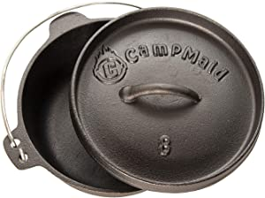 "CampMaid 8"" Pre-Seasoned 2 Quart Dutch Oven Without Legs"