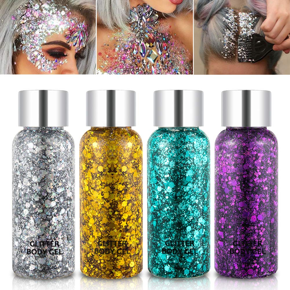 Holographic Body Glitter Gel Set 4 Colors Cosmetic Chunky Glitters Flakes Gel Colorful Mixed Paillette Gel for Festival Party Face Makeup, Body, Hair, Eye and Lips Shimmer Gold,Silver,Purple,Green