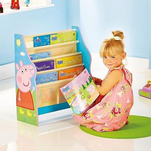 Peppa Pig Hängefach-Bücherregal für Kinder | Kinder Bücherregale mit Stoff