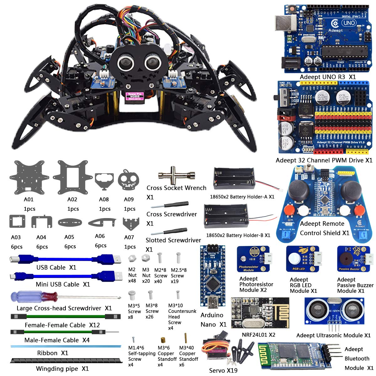 Adeept Hexapod 6 Legs Spider Robot Kit For Arduino Uno Transformer Diagram Obstacle Avoidance Circuit R3 And Nano 24g Wireless Remote Control Starter