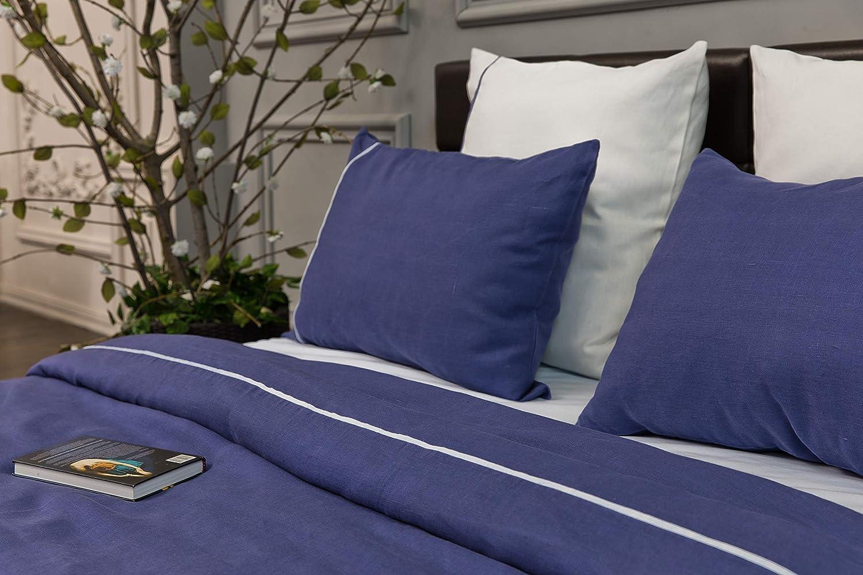 Flax Pillow Cover with Zipper Closure 2pcs Set of Blue Linen King Pillow Sham