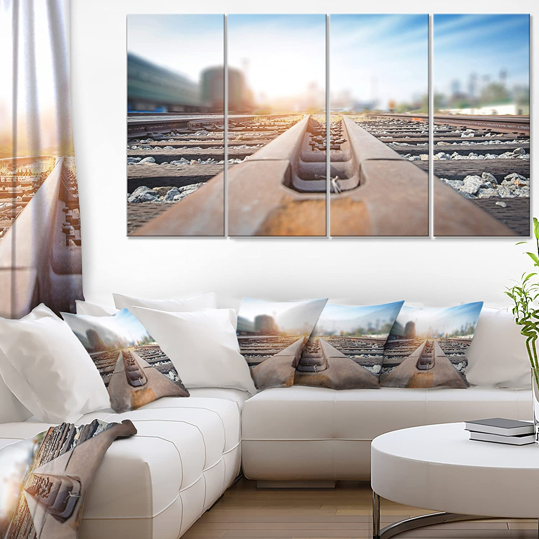 Designart 4 Piece Cargo Train Platform with Container Landscape Photo Canvas Print, 48' x 28', Brown