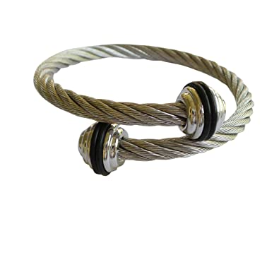 e9bdc0cd949 Dragonfly Spirit Designs Silver Stainless Steel Twisted Cable Cuff Bangle  Bracelet For Men Women (Black