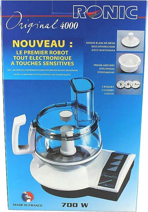 Ronic Original 4000 - Robot de cocina (700 W, cuchilla multiusos, cuchilla para tallar y rallar, disco fino y grueso, exprimidor de cítricos, cuchilla para nata): Amazon.es: Hogar