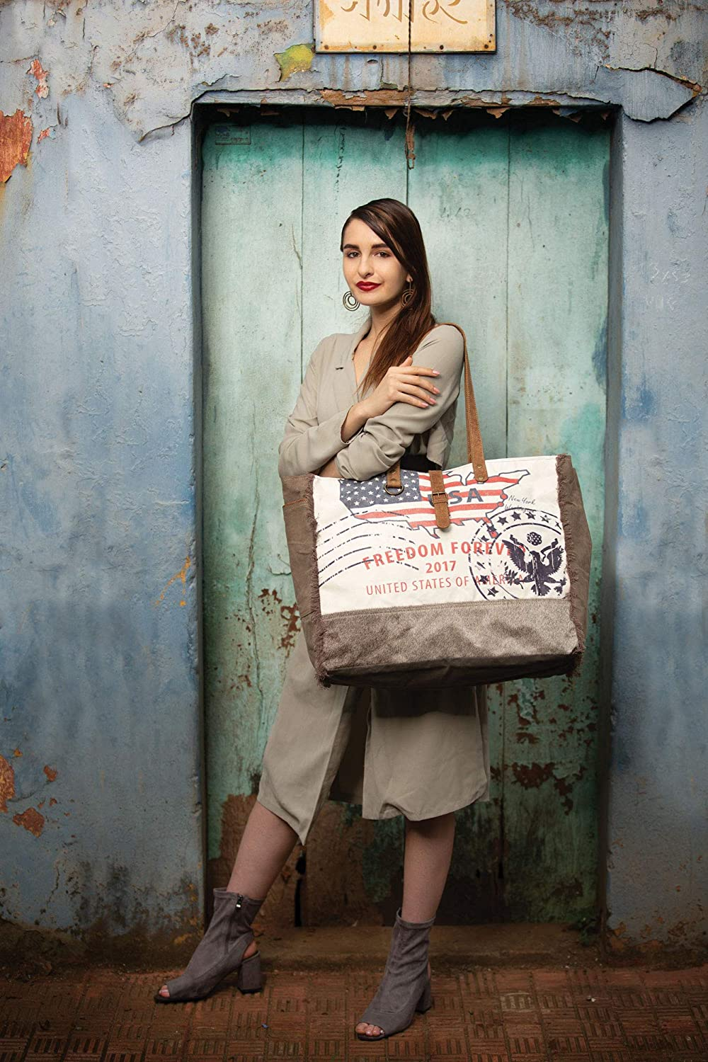 Myra Bag Partisan Upcycled Canvas /& Cowhide Leather Weekender Bag S-1273