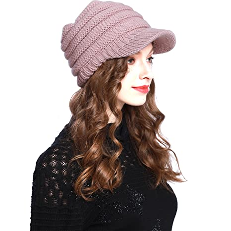Warm BV2311 Cable Ribbed Knit Beanie Hat w  Visor Brim - Chunky Winter  Skully Cap (A PINK) at Amazon Women s Clothing store  f7e225ea8e21