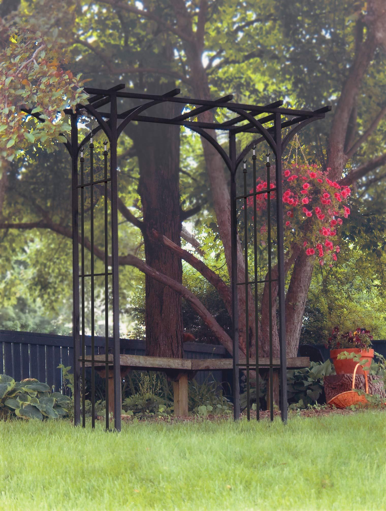 Panacea 89088 Steel Flat Top Arbor with Finials, Black