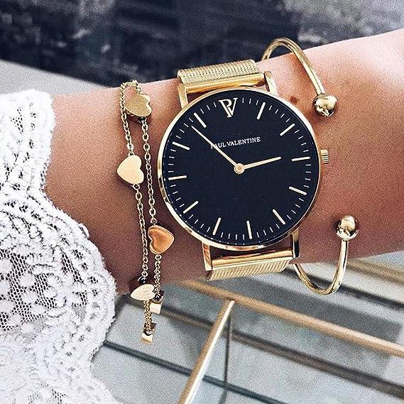 Paul Valentine PV38241 Pearl Gold Mesh - Reloj de Pulsera para Mujer: Amazon.es: Relojes