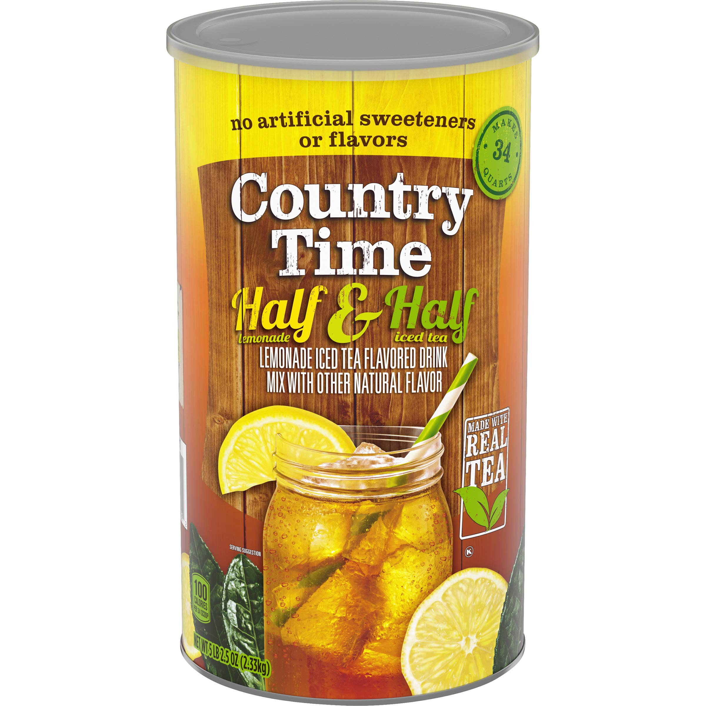 Country Time Powdered Drink Mix, Half Lemonade & Half Iced Tea, Caffeinated, 82.5 oz Cannister by Country Time