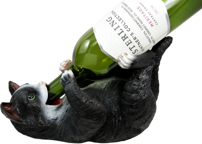 Atlantic Collectibles Feline American Shorthair Black Kitty Cat Wine Bottle Holder Caddy Figurine