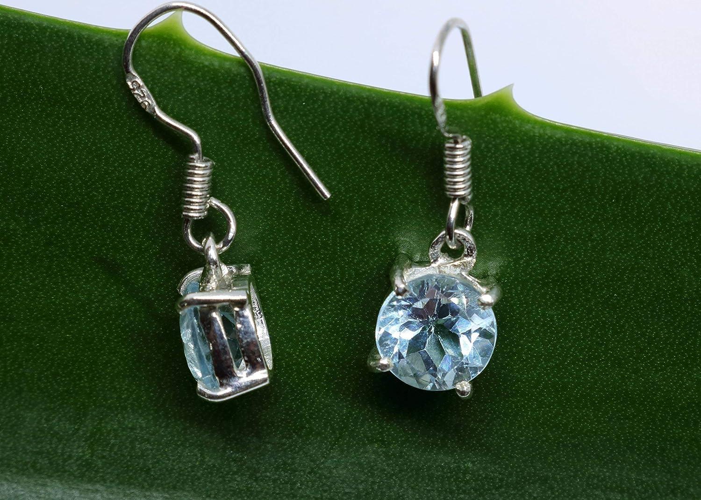 Granulation silver technique Silver sterling blue Topaz gemstone hoop earrings   silver 925  Bali handmade jewelry  1.50 inch #787m
