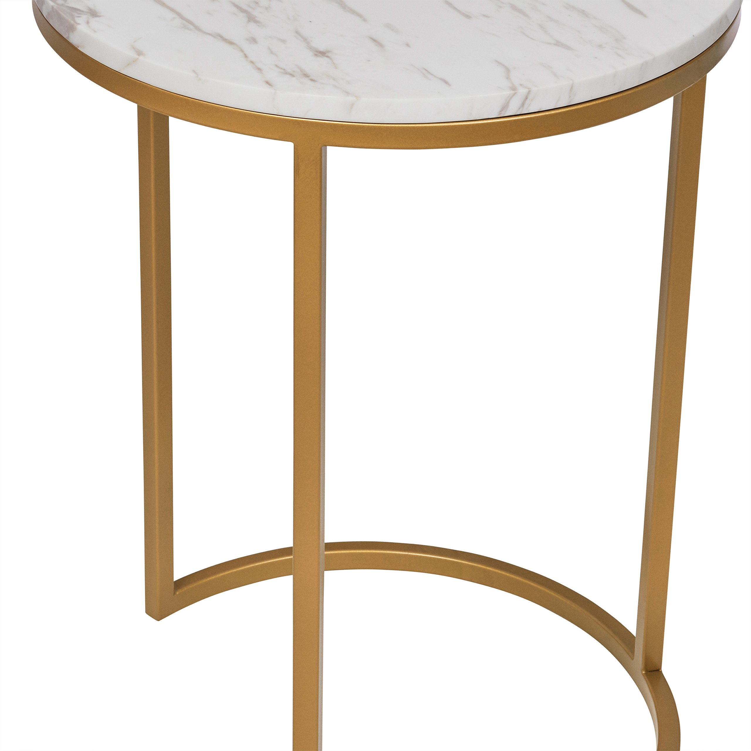 Rivet Circular Modern Marble and Gold Nesting Side Table, Set of 2, Marble/Gold by Rivet (Image #4)