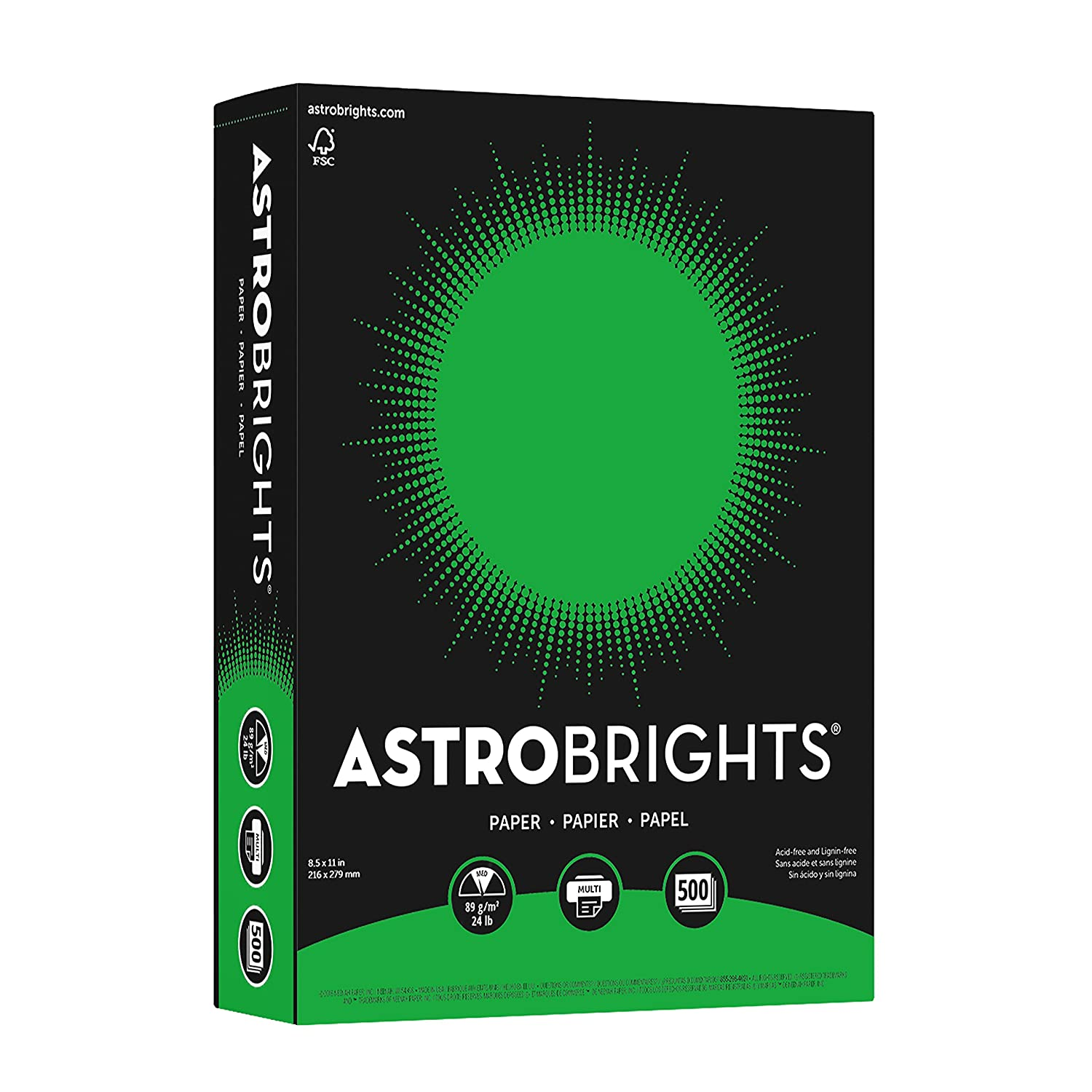 Neenah 21528 Astrobrights Premium Color Paper, 24 lb, 8.5 x 11 Inches, 500 Sheets, Lunar Blue