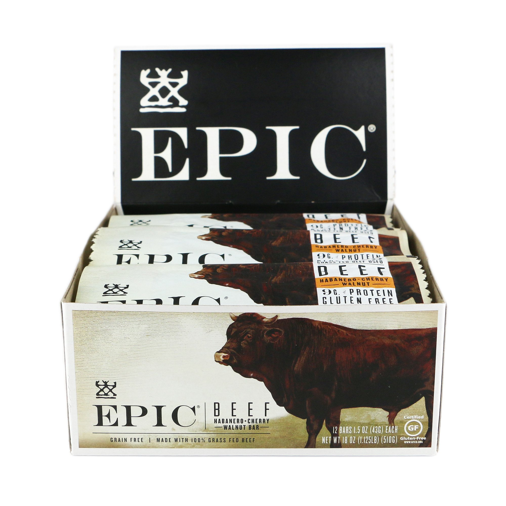 Epic All Natural Meat Bar, 100% Grass Fed, Beef, Habanero & Cherry, 1.5 ounce bar