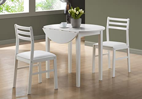 Awesome Monarch Specialties 3 Piece Dining Set With A 36 Inch Diameter Drop Leaf  Table