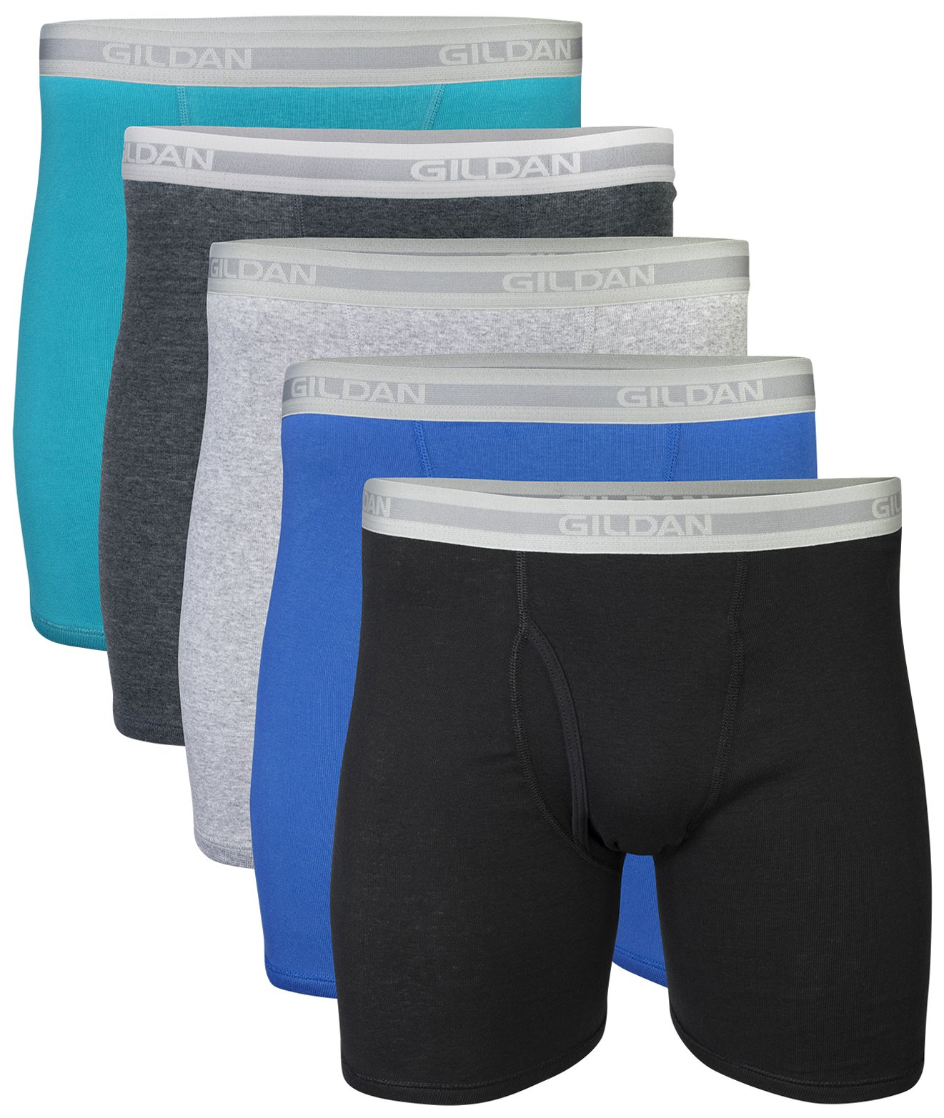 Gildan Men's Regular Leg Boxer Brief 5 Pack, Large, Mixed Blue/Grey