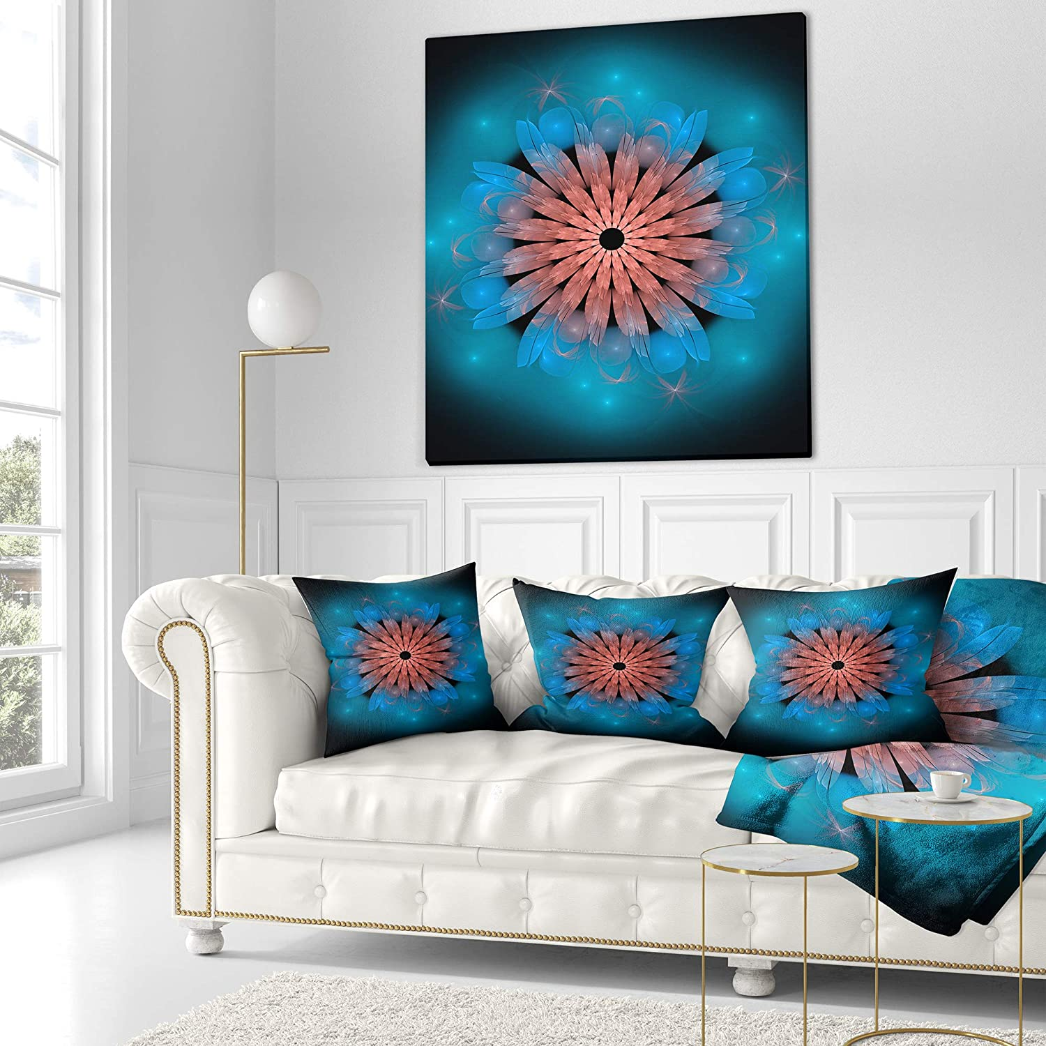 Designart CU9251-26-26 Fractal Blooming Turquoise Flower Floral Throw Pillow 26 x 26