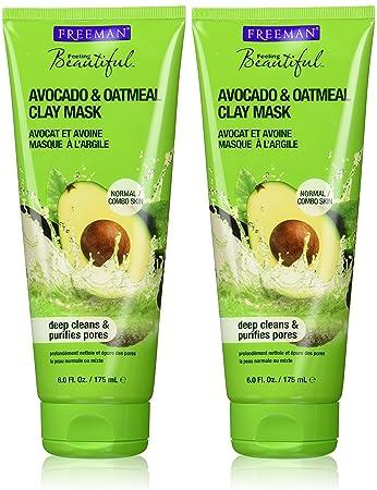 Freeman Avocado & Oatmeal Clay Facial Masque, Purifying - 6 oz 1x Moroccan Hammam Bath Scrub Glove Exfoliating Facial Tan Remover Kessa SPA