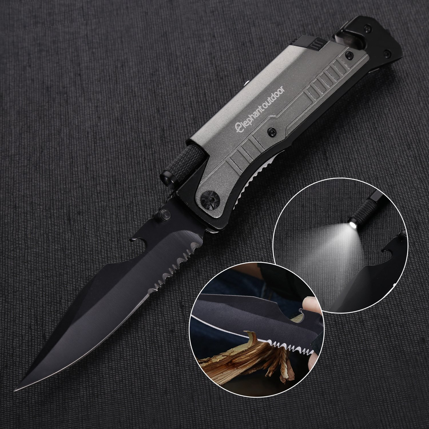 Survival Knife - Updated 7-in-1 Tactical Pocket Folding Knife with LED Flashlight, Glass Breaker, Seatbelt Cutter, Magnesium Fire Starter, Whistle and Bottle Opener, Best Stainless Steel Camping Gear by Elephant outdoor (Image #1)