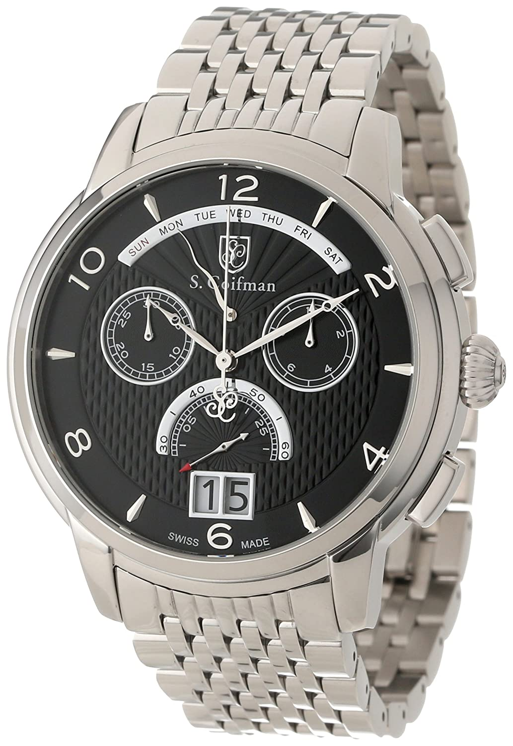 Amazon.com: S. Coifman Mens SC0184 Chronograph Black Textured Dial Stainless Steel Watch: Invicta: Watches