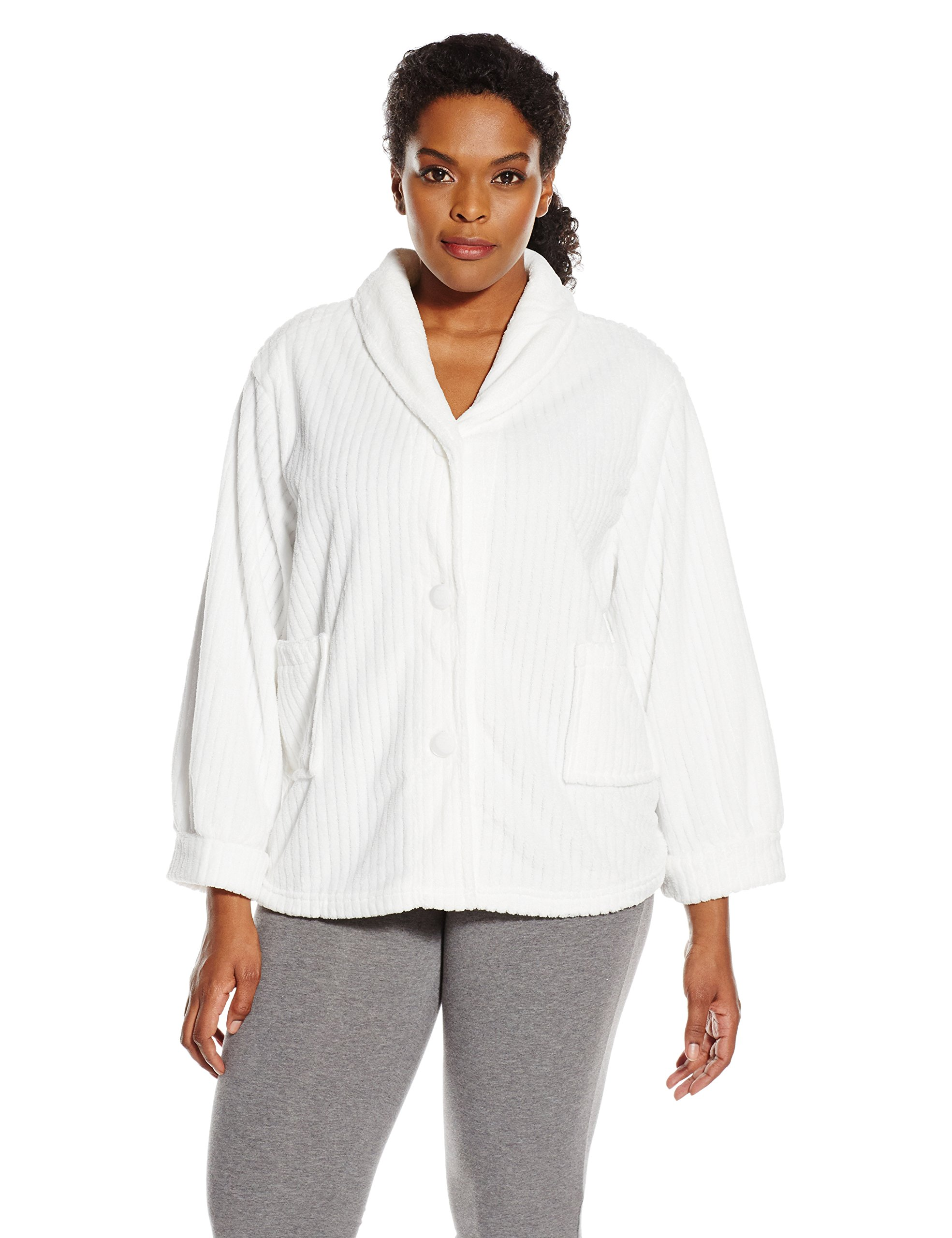 Casual Moments Women's Plus Size Shawl Collar Bed Jacket, White, 1X