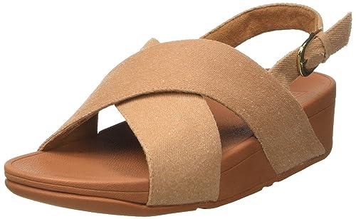 Women Lulu Cross Back-Strap Shimmer Open Toe Sandals FitFlop dF12m