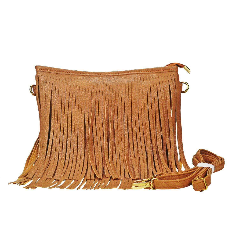 Sibalasi Chic Fringe Crossbody Bag Bohemian Tassel Lightweight Hippie Shoulder bag Double Layers Fringe Small Handbag (Brown)