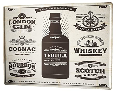Cartel Letrero de Chapa Motivo Retro Tequila Cocina: Amazon ...