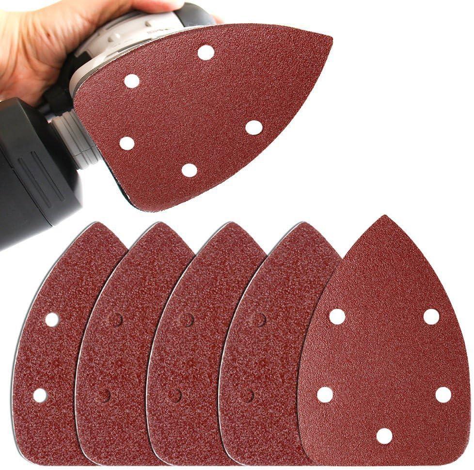 OxoxO Sander Pads Sanding Sheets Aluminum Oxide Hook /& Loop 140mm 5 Hole 40 60 80 100 120 Grits Mouse Sanding Paper 50-Pack