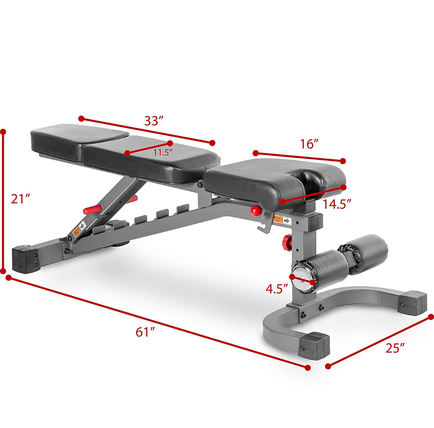 XMark Adjustable Weight Bench with Flat and Adjustable Leg Holder 7 Positions and Decline Adjustments to Full Decline for Military Press Incline 3-Position Seat 11-Gauge Steel Mainframe