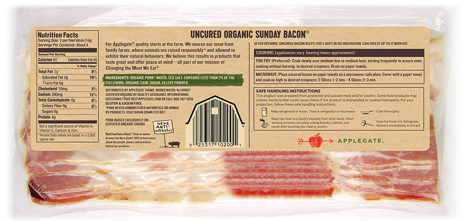Applegate,anic Uncured Sunday Bacon, 8 Oz: Amazon: Grocery & Gourmet Food  How To Cook