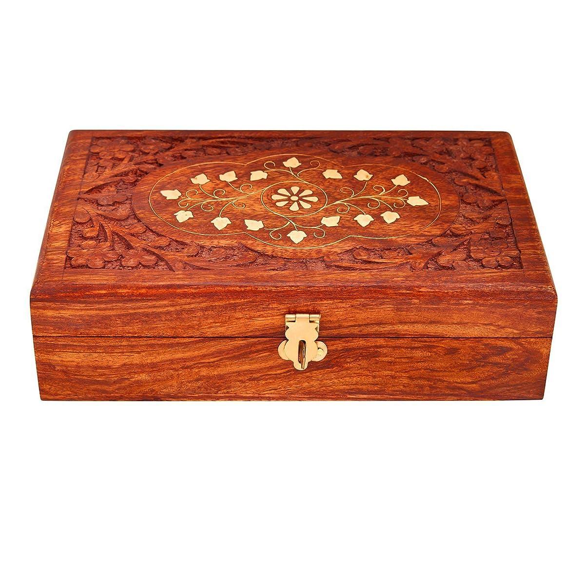 Great Birthday Gift Ideas Handmade Decorative Wooden Jewelry Box With Free Lock & Key Jewelry Organizer Keepsake Box Treasure Chest Trinket Holder Lock Box Watch Box 8 x 5 Inch Anniversary Gifts Her