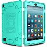 All-New Amazon Fire 7 Silicone Case, Elegant Choise Anti-Slip Shockproof Soft Silicone Kid Friendly Protective Case Cover for All-New Amazon Fire HD 7 Table (7th Generation) 2017 Release (Turquoise)