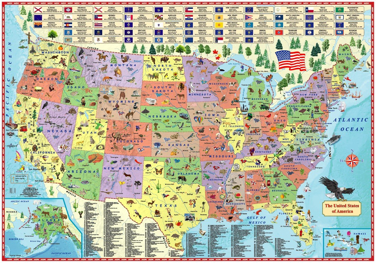 Illustrated map of the US for kids (Laminated Children\'s Wall Map of ...