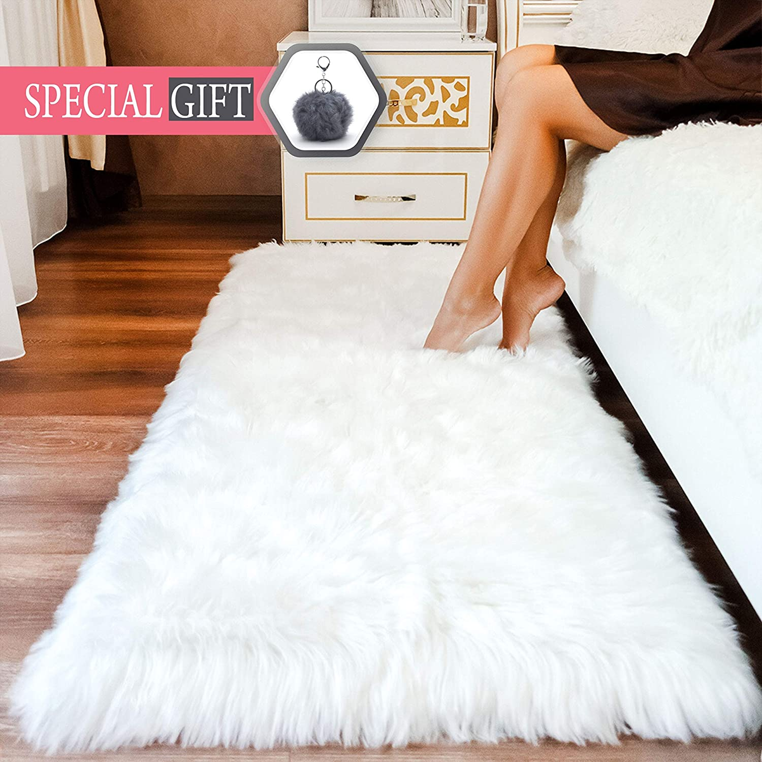 Amazon.com: Premium Faux Sheepskin Fur Rug White - 2.3x5 feet ...
