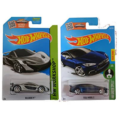 Hot Wheels 2016 Tesla Model S & 2014 McLaren P1 (Silver) 2-Car Bundle Set: Toys & Games